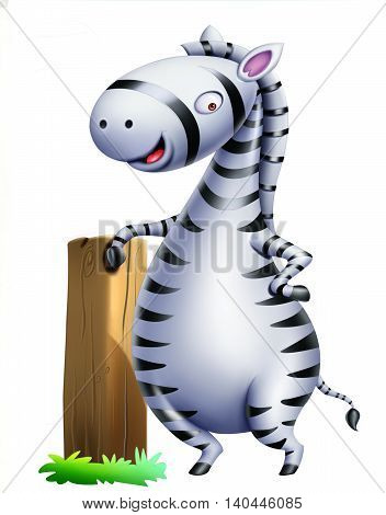 Zebra / Zebra Standing along with wood