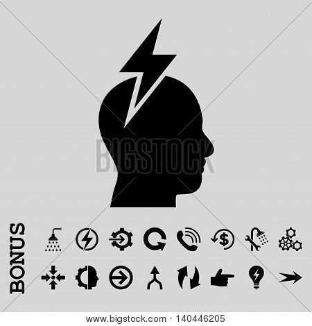 Headache vector icon. Image style is a flat pictogram symbol, black color, light gray background.