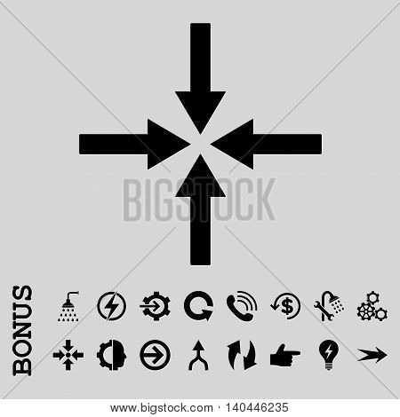 Impact Arrows vector icon. Image style is a flat pictogram symbol, black color, light gray background.