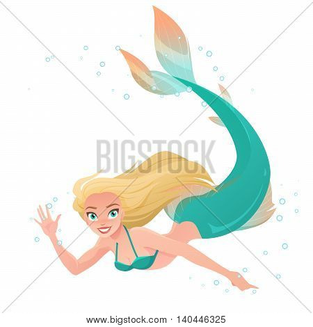 Beautiful mermaid waving hand under water. Cartoon vector illustration isolated on white background.