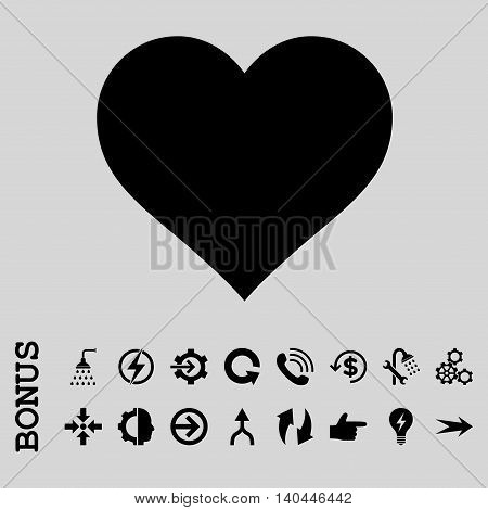 Love Heart vector icon. Image style is a flat iconic symbol, black color, light gray background.
