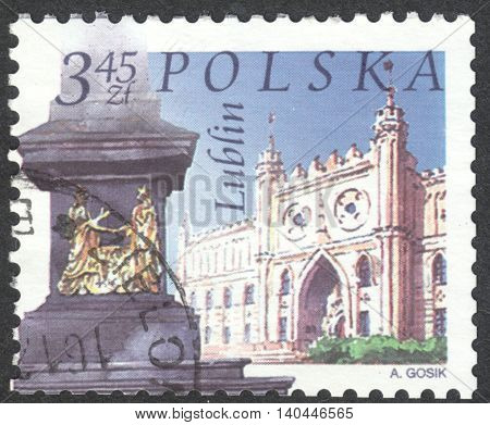 MOSCOW RUSSIA - CIRCA APRIL 2016: a post stamp printed in POLAND shows a view of Lublin town the series