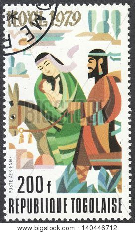 MOSCOW RUSSIA - CIRCA APRIL 2016: a post stamp printed in TOGO shows Bible theme scenery the series