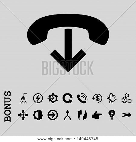 Phone Hang Up vector icon. Image style is a flat iconic symbol, black color, light gray background.