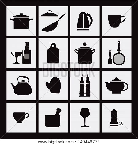 vector kitchen and restaurant black icon kitchenware set - illustration