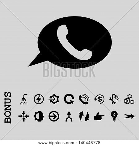 Phone Message vector icon. Image style is a flat iconic symbol, black color, light gray background.