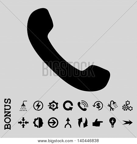Phone Receiver vector icon. Image style is a flat iconic symbol, black color, light gray background.