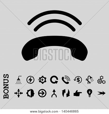 Phone Ring vector icon. Image style is a flat iconic symbol, black color, light gray background.