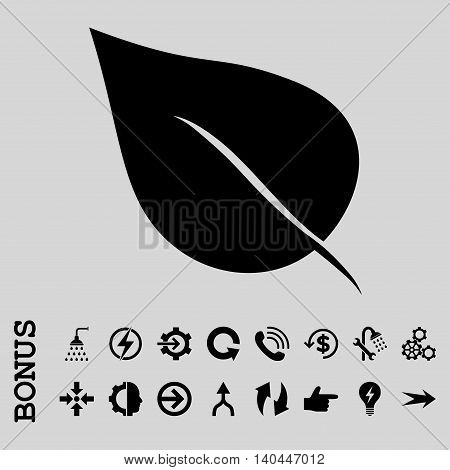Plant Leaf vector icon. Image style is a flat iconic symbol, black color, light gray background.