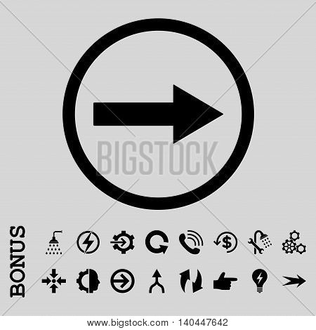 Right Rounded Arrow vector icon. Image style is a flat pictogram symbol, black color, light gray background.