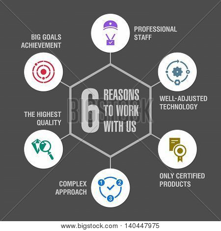 6 reasons to work with us. Infographics. Colored 3.