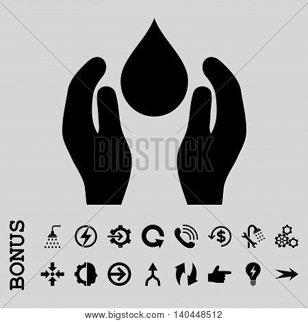 Water Care vector icon. Image style is a flat pictogram symbol, black color, light gray background.