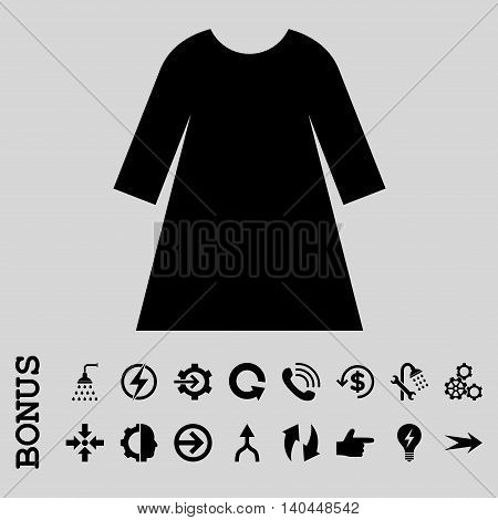 Woman Dress vector icon. Image style is a flat iconic symbol, black color, light gray background.