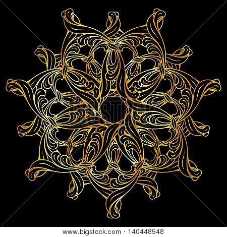 Floral design element in golden colors on black background