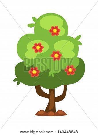 Flower tree isolated on white background and orange tree vector nature fruit tree. Garden green fruit tree design and agriculture natural plant. Sweet summer tangerine green fruit tree.