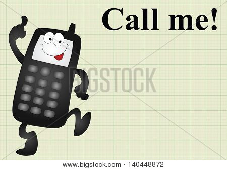 Comical mobile telephone and call me on graph paper background with copy space for own text