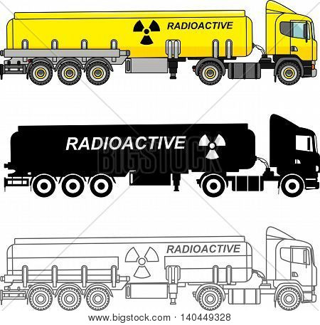 Detailed illustration of cistern trucks carrying chemical radioactive toxic hazardous substances isolated on white background in a flat style.