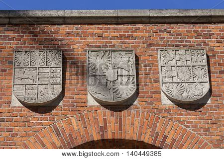 Details of Heraldic Gate to Wawel Royal Castle Krakow Poland.