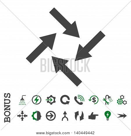 Centripetal Arrows vector bicolor icon. Image style is a flat pictogram symbol, green and gray colors, white background.