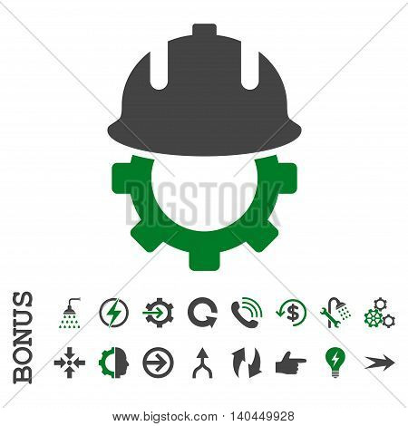 Development Helmet vector bicolor icon. Image style is a flat iconic symbol, green and gray colors, white background.