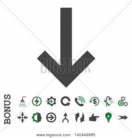 Down Arrow vector bicolor icon. Image style is a flat pictogram symbol, green and gray colors, white background.