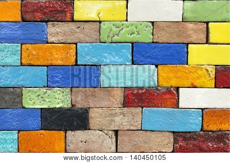 Colorful Brick Wall For Background