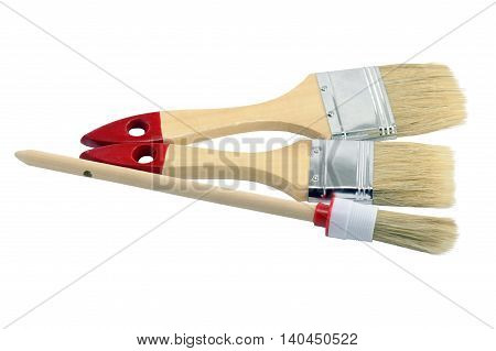 Tools for painting houses on white background