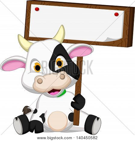 happy baby cow cartoon holding blank sign