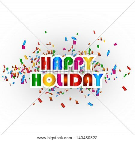 happy holiday card with colorful confetti background