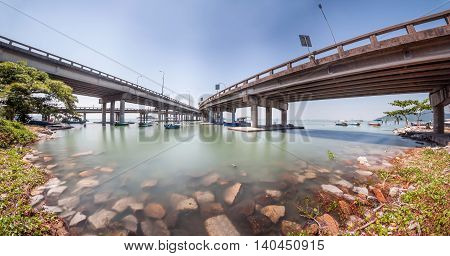 Under a bridge view in Penang Malaysia