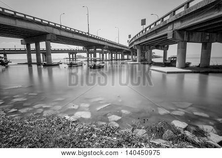 Under a bridge view in Penang Malaysia in black and white