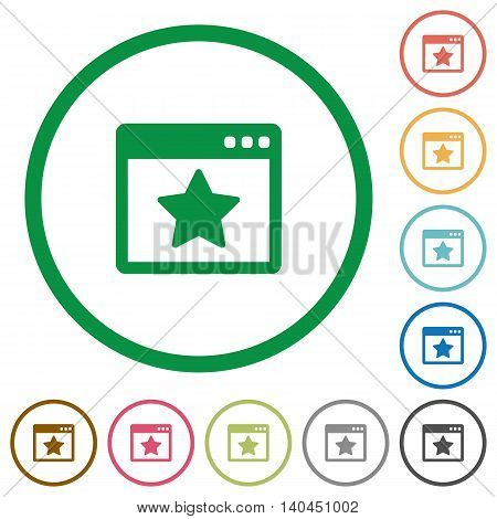 Set of Favorite application color round outlined flat icons on white background