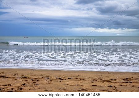 Beautiful tropical beach in Kuta beach,Bali,Indonesia Paradise place for surfing and relaxing.