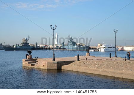 KRONSTADT, RUSSIA - APRIL 21, 2014: On Peter's pier, a sunny april day. Historical landmark of the city Kronshtadt, Russia