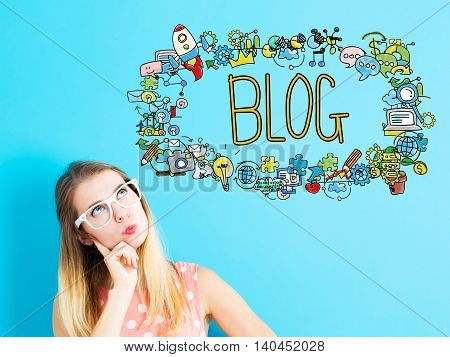 Blog Concept With Young Woman