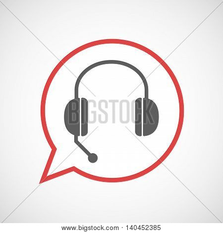 Isolated Comic Balloon Line Art Icon With  A Hands Free Phone Device