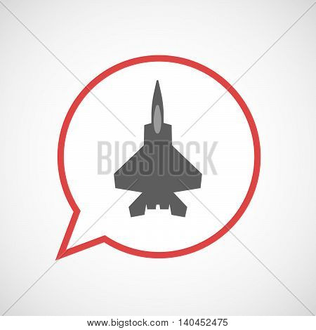 Isolated Comic Balloon Line Art Icon With A Combat Plane