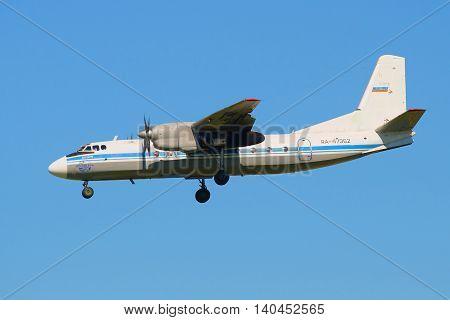 SAINT PETERSBURG, RUSSIA - AUGUST 21, 2015: The plane An-24RV (RA-47362) airlines Pskov-Avia