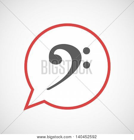 Isolated Comic Balloon Line Art Icon With An F Clef