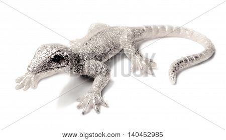 Decorative silver lizzard or gecko, isolated on white