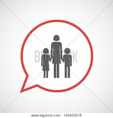 Isolated Comic Balloon Line Art Icon With A Female Single Parent Family Pictogram