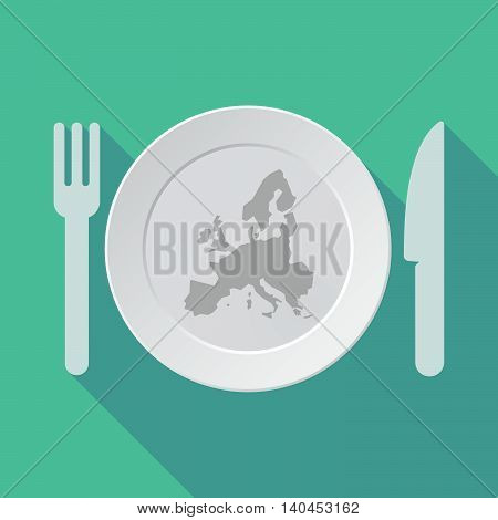 Long Shadow Tableware Vector Illustration With  A Map Of Europe