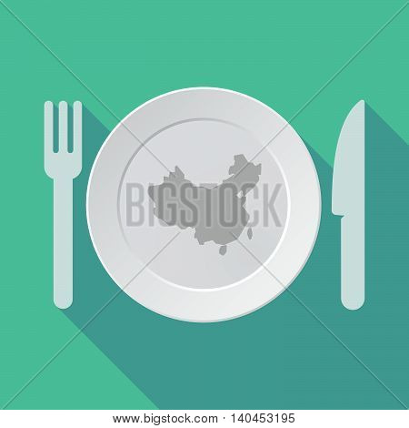 Long Shadow Tableware Vector Illustration With  A Map Of China