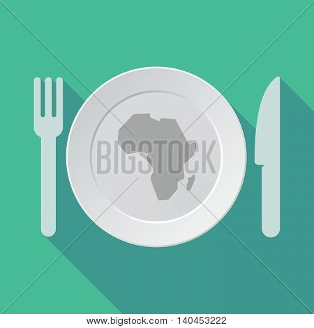 Long Shadow Tableware Vector Illustration With  A Map Of The African Continent
