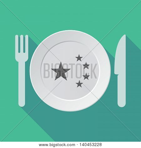 Long Shadow Tableware Vector Illustration With  The Five Stars China Flag Symbol