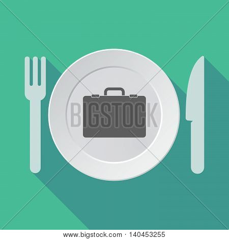 Long Shadow Tableware Vector Illustration With  A Briefcase
