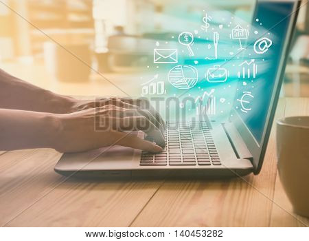 Graph Of Stock Market Data And Financial With The View From Laptop Display Concept That Suitable For