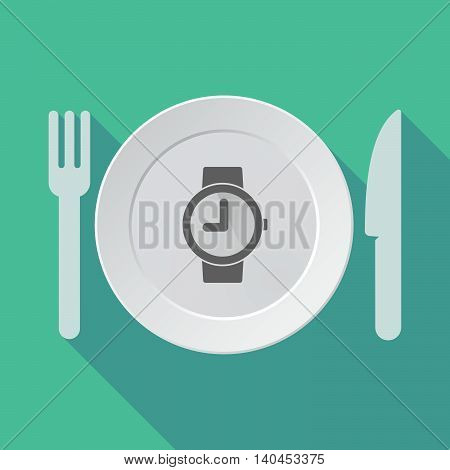 Long Shadow Tableware Vector Illustration With A Wrist Watch