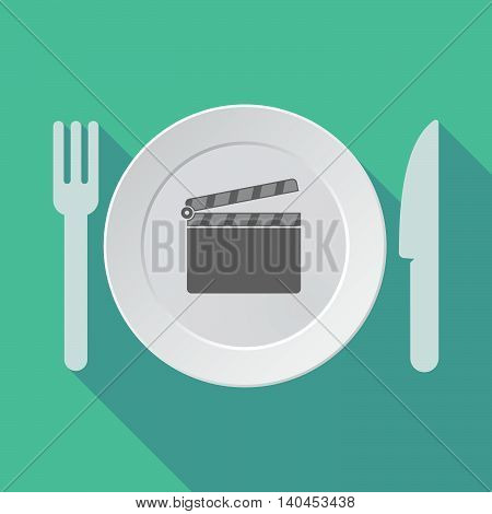 Long Shadow Tableware Vector Illustration With A Clapperboard