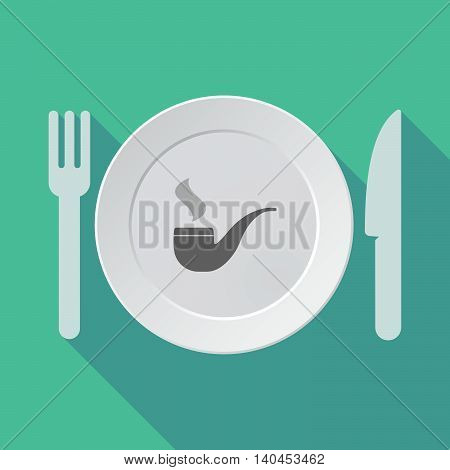 Long Shadow Tableware Vector Illustration With A Smoking Pipe